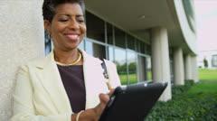 Portrait Ethnic Female College Head Tutor Wireless Tablet Stock Footage