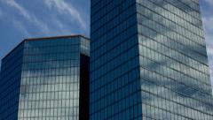 4k Time Lapse, Thin Clouds Reflecting Glass in Silver Tower Windows Stock Footage
