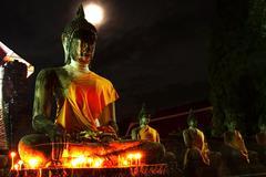 Buddha statue in old temple , wat yai chaimongkol temple in ayuttaya thailand Stock Photos