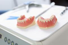Dentures at dentist clinic Stock Photos