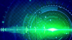 Sine waves green blue technology loop background Stock Footage