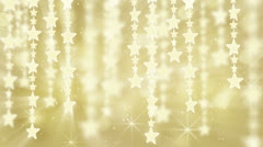 Gold shiny hanging stars loop background Stock Footage