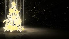 Gold christmas tree decoration loop Stock Footage