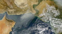 Gulf of Oman and the Arabian Sea from space Stock Footage