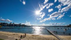 Wide Angle Time Lapse of Sunny Harbour 126GYDB NTSC Stock Footage