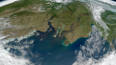 The Earth - Ob and Yenisei Rivers in north-central Russia from space - stock footage