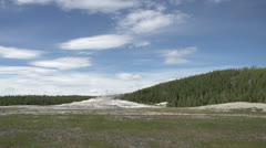 Old Faithful in Yellowstone wide angle Stock Footage