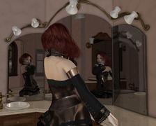 Goth Girl in the Mirrors - stock illustration
