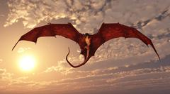 Red Dragon Attacking from a Sunset Sky Stock Illustration