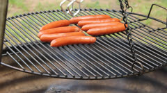 Grilling hotdogs Stock Footage