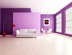 minimalist purple  living room with dining space - stock illustration