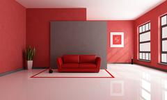 red and brown lounge - stock illustration
