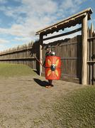 Roman Legionary Fort Guard - stock illustration