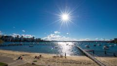 Wide Angle Time Lapse of Sunny Harbour 127GYDB NTSC Stock Footage