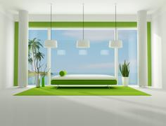 minimalist holiday villa - stock illustration
