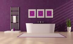 Purple bathroom Stock Illustration