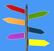 colored road  sign post - stock illustration