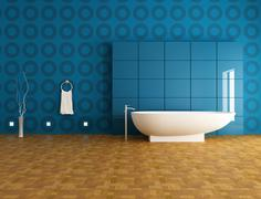 Contemporary  blue bathroom Stock Illustration