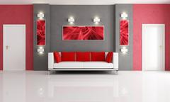 Grey and red living room Stock Illustration