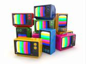 Stock Illustration of heap of vintage tv. end of television. conceptual image. 3d