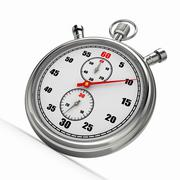 Stock Illustration of analog stopwatch on white isolated background. 3d