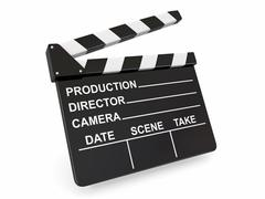 Stock Illustration of movie industry. clapperboard on white background. 3d