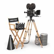 movie composition. vintage camera, director chair and reels. 3d - stock illustration