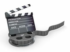 Stock Illustration of movie industry. clapperboard and film reel. 3d