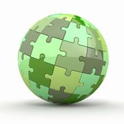 Globe or sphere from puzzles. 3d Stock Illustration