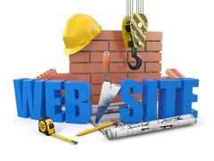 Web site building. crane, wall and tools. 3d Stock Illustration