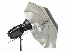 Studio lighting equipment. flash and umbrella Stock Illustration