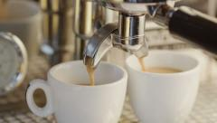 Two Cups of Espresso Being Poured from a Professional Espresso Machine. 4K Stock Footage