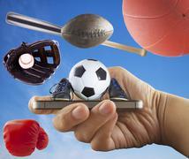 Smartphone with sports symbol Stock Illustration