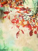 beautiful grunge autumnal background - stock illustration