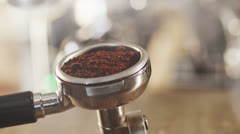 Tamping Fresh Ground Coffee. 4K Stock Footage