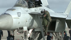 F/A-18 and F-16 pilots participate in Top Gun jet fighter training Stock Footage