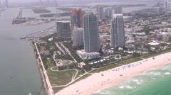 Miami Aerial, Coastal City, Buildings, 2D, 3D Stock Footage