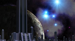 City of aliens, huge planet and UFO Stock Footage
