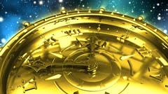 Golden Clock and Spinning Galaxy - stock footage