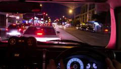 Time lapse of car speedo while driving at night through city 134GYND PAL Stock Footage