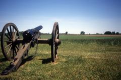 napoleon, 12 lb cannon, confederate lines, . - stock photo