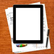 Workplace with digital tablet computer Stock Illustration