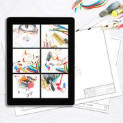 workplace with digital tablet - stock illustration