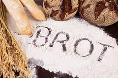 Brot, written in flour Stock Photos