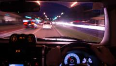 Time Lapse of driving at dusk with dashboard in focus 136GYND NTSC Stock Footage