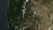 Stock Video Footage of Cascade Ranges - USA - West Coast - from space
