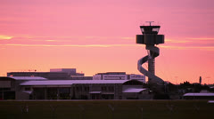 Airport Control Tower at Sunset Loopable 160GYAP 5972 NTSC Stock Footage