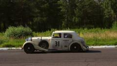Stock Video Footage of Big sluggish Bentley 4 1 2 MX Saloon slowly moving on the driveway
