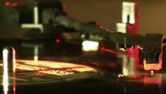 Record Turntable With LP Record Turning Stock Footage