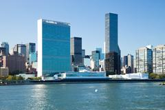 new york city, uptown, united nations central office - stock photo